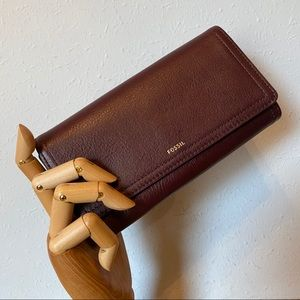 Fossil Leather Logan Clutch or Wallet, Fig Color
